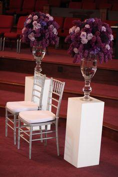 #purple wedding ... Fleur:ology purple wedding ceremony flowers