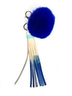 Royal Blue Pom-pom Keychain with Tassel  // Stylish flair for your keys // FUN Leather accessories handmade by StudiOH, Shoppe!