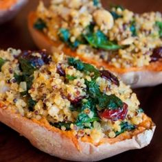 Quinoa Stuffed Sweet Potatoes with Kale and Cranberries.