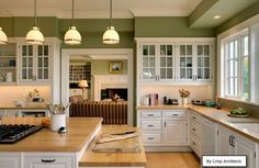 green kitchen off white cabinets - Google Search