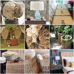 Great ideas using burlap - Love the outdoor plants wrapped in burlap!