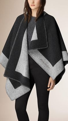 Burberry Mid Grey Melange Wool and Cashmere Blanket Poncho - A blanket poncho crafted in Scotland from wool and cashmere. The design is jacquard-woven with a distinctive contrast colour border. Discover the scarves collection at Burberry.com