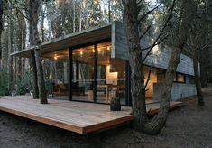 la maison en bois dans la foret en soiree