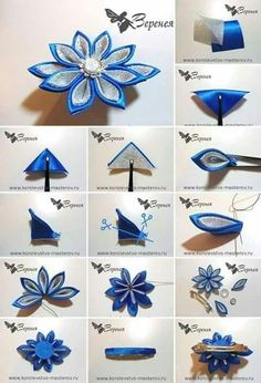 Best 12 Fabric Kanzashi Flowers are a beautiful interpretation of fabric origami. They are so simple to make and they typically are worn by women as hair ornaments.This Pin was discovered by Lau – Page 537335799290374866 – SkillOfKing. Diy Ribbon Flowers, Cloth Flowers, Ribbon Art, Fabric Ribbon, Ribbon Crafts, Flower Crafts, Fabric Flowers, Kanzashi Flowers, Flower Diy