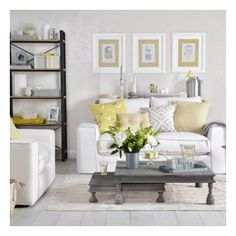 Pale grey and lemon yellow living room Yellow and grey living room... ❤ liked on Polyvore featuring backgrounds, home, house and room