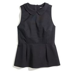 Black Peter-Pan Collared Tailored Peplum Top