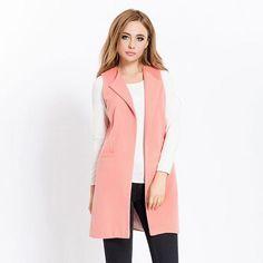 69029c00e0e7e New Women Spring Wool Blend Vest Waistcoat Ladies Winter Long Camel Vest  Sleeveless Jacket Coat Plus Size Veste Femme Gilet