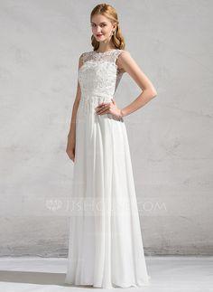 Vestidos princesa/ Formato A Decote redondo Longos tecido de seda Renda Vestido de noiva com Beading lantejoulas (002081897)