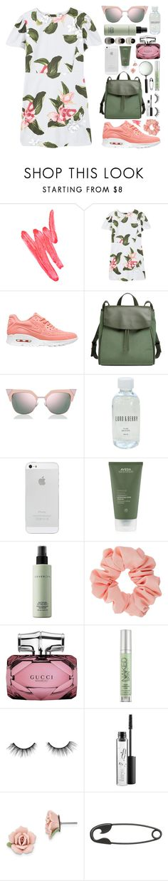 """""""floral minimalism."""" by tennessea-honey ❤ liked on Polyvore featuring Ilia, MANGO, NIKE, Skagen, Fendi, Lord & Berry, Aveda, Cover FX, Miss Selfridge and Gucci"""