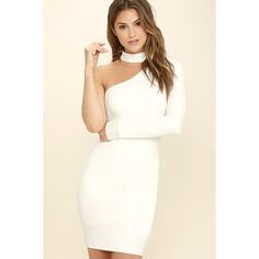 All I Half White One Shoulder Dress ($58) ❤ liked on Polyvore featuring dresses, white, one shoulder evening dresses, holiday dresses, evening cocktail dresses, white bodycon dress and lulu's dresses