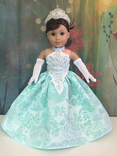 american dolls Excited to share this item from my shop: American Girl Aqua Sparkle Custom OOAK Princess Dress Set American Girl Doll Costumes, American Doll Clothes, Ag Doll Clothes, Doll Clothes Patterns, Girl Costumes, American Dolls, Doll Patterns, Clothing Patterns, Dress Patterns