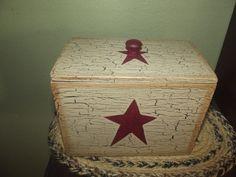 Primitive Crackle Wood Recipe Box ~ Burgundy Stars ~ Country Decor #NaivePrimitive