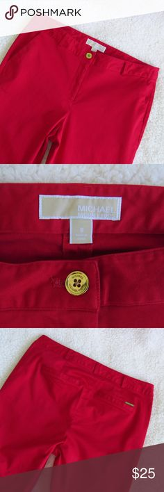 Michael Kors Red Ankle Pants Size 8 In good condition. See pictures! Material is perfect for warmer weather!  Waist: 16.5 in.  Inseam: 28 in. Rise: 9.5 in.  Please feel free to ask any questions!  BUNDLE THIS ITEM WITH 1 OR MORE TO SAVE ON SHIPPING & GET 10% OFF!!! Michael Kors Pants Ankle & Cropped