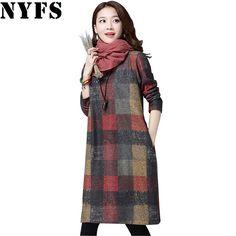 NYFS 2017 Autumn Winter Women dress Elegant Thick warm Long sleeve Cotton  Loose Dress Vestidos Robe a589f1fcd