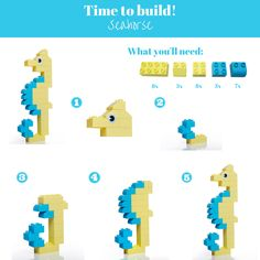 Meet our Bubbly Seahorse :) Here's a step-by-step guide on how to build your own cute sea creature !#MegaBloks #DIY #Blockbuilding #Building #LearningGames #Activities
