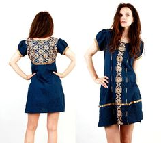 Vintage Indian Dress / Indian Tunic / Embroidered Dress /