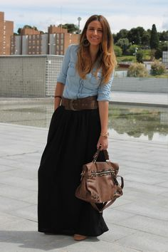 denim and black maxi skirt