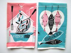 PAIR Vintage Atomic Towels Fish and Chips Mid Century at NeatoKeen