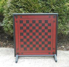 Wood Checkerboard Game Board Primitive Game Board by JohnnyUNamath