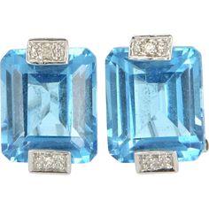 http://rubies.work/0391-sapphire-ring/ Estate 14 Karat White Gold Blue Topaz Diamond Cocktail Earrings Fine Jewelry  Sapphires