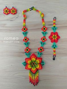 Items similar to SET Necklace, Ring, Earrings 3 D Flower - Huichol Art - Beaded Necklaces - Romea Accessories - Made in Mexico - Boho - Trendy - on Etsy Crochet Jewelry Patterns, Beaded Jewelry Designs, Handmade Beaded Jewelry, Crochet Accessories, Bracelet Patterns, Beading Patterns, Beaded Choker Necklace, Ring Earrings, Flower Necklace