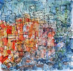 Cityscape At Nighg.  Watercolour on paper, 20x20 cm