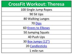 CrossFit Workout - great workout for muscle building, though we burned 700+ calories too. Nice and sore the next day!