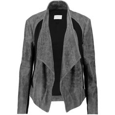 DKNY Draped ponte-paneled cracked-leather biker jacket (8 855 UAH) ❤ liked on Polyvore featuring outerwear, jackets, anthracite, motorcycle jackets, ponte jacket, rider jacket, slim jacket and ponte knit jacket