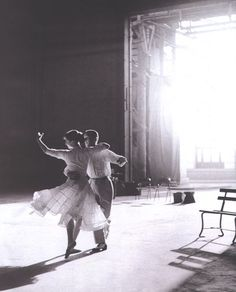 Fred Astaire and Audrey Hepburn rehearsing for Funny Face (1957)