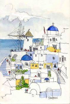 Santorini houses – - New Sites Pen And Watercolor, Watercolor Landscape, Abstract Watercolor, Watercolour Painting, Painting & Drawing, Simple Watercolor, Watercolor Trees, Tattoo Watercolor, Watercolor Animals