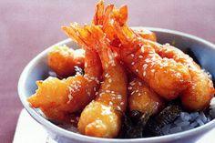 Honey Prawns....honey sesame prawns with fried nori