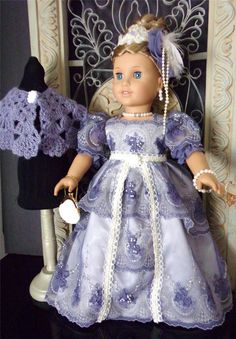 """Lace Regency Gown Cape Set Made for American Girl Similar Size 18"""" Dolls 