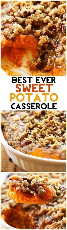 This Sweet Potato Casserole is my absolute FAVORITE side dish at Thanksgiving or anytime really! It is perfectly sweet with a delicious crumb topping! It is always the first thing to disappear whereve (Sweet Potato Recipes) Fall Recipes, Holiday Recipes, Christmas Desserts, Holiday Meals, Pumpkin Recipes, Thanksgiving Side Dishes, Thanksgiving Casserole, Thanksgiving Treats, Thanksgiving 2016