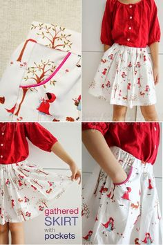 Piped pockets skirts sewing Every little girls skirt need lots of pockets to fill in all the fun...