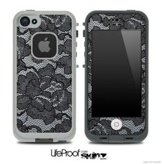 Black Lace Skin for the iPhone 4/4s or 5 LifeProof Case