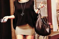 Mini with.... oversized sweater & oversized handbag... gotta luv this look..