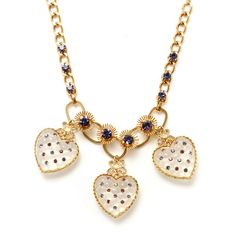 3 Heart Bib Necklace ($102) ❤ liked on Polyvore featuring jewelry, necklaces, accessories, collares, women, betsey johnson, heart shaped necklace, bib necklace, collar jewelry and heart necklace