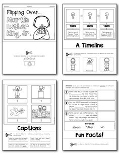 NO PREP MLK, Jr. Informational Flip Book (Student pages from the flip book... children learn important facts about MLK through a timeline, captions, and fun facts.) #MLK #martinlutherking $
