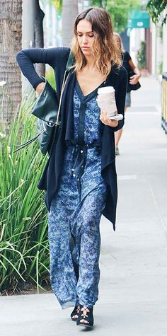 Look of the Day › July 2014 Jessica Alba stepped out in a sweeping navy  floral print L. maxi dress 01d260d5e8