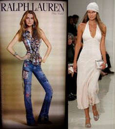 Same model, but the touched up one on the left is used versus the one on the right which is how she really looks.  Makes you think.