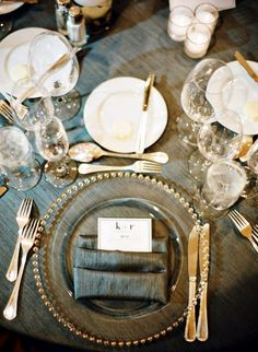 Beautiful elegant table setting tablescape...love the napkin fold. Gold and charcoal.