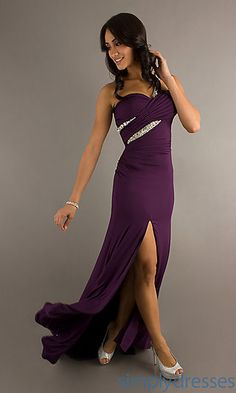 One Shoulder Purple Prom Gown at SimplyDresses.com