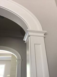 farmhouse style arched opening - frame and flat panel column detail - wide casing detail Arched Interior Doors, Black Interior Doors, Arched Doors, Arch Interior, Arched Windows, Interior Trim, Home Interior Design, Archway Molding, Moulding