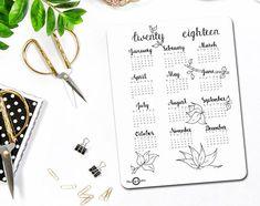Jaar in een oogopslag kalender volledige jaar kogel Journal