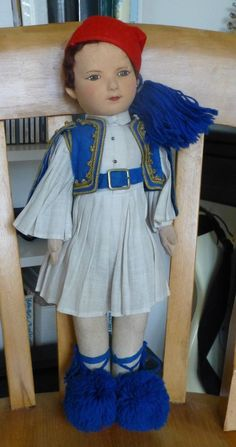 Vintage Chad Valley Hygienic Felt/Cloth Jointed Greek Costume Doll