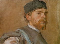 """Stanisław Wyspiański (Polish 1869–1907) """"Self-Portrait in a Robe of Ancient Polish Noble"""", 1892-94, oil on canvas, 35 x 46.5 cm, National Museum, Wroclaw."""