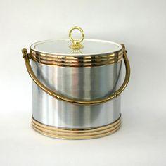 Vintage Ice Bucket Metallic Silver Gold Barware by RhapsodyAttic, $48.00