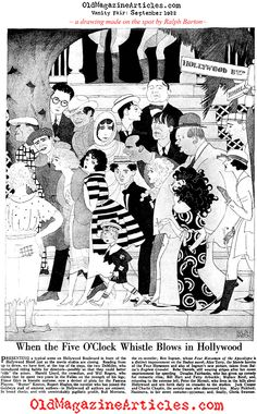 """Vanity fair, 1921. """"created by one of the great American caricaturists of the Twenties: Ralph Barton, [depicting] (among others): Douglas Fairbanks, Marry Pickford, Buster Keaton, Harold Lloyd, Bebe Daniels, Bill Hart, Wallace Reed, Gloria Swanson, Nazimova, Charlie Chaplin, Jackie Coogan, Fatty Arbuckle and the writer Rupert Hughes. Lording above them all, and represented simply by jodhpurs and riding boots, stands the founder of the feast - Cecil B. DeMille (and his brother)"""""""