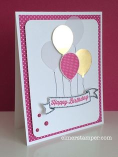 Adorable birthday card! Sneak Peek of the Banner Banners Stamp Set and Pop of Pink DSP by Stampin' Up! from the 2016-2017 Annual Catalog. Created by Kristin Kortonick