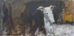Greyhound or Galgo, painted in mixed media on canvas, 50 x 100 cm